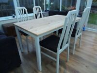 Farmhouse Pine Table with Rustoleum Cotton Satin Paint and 4 x Recovered chairs