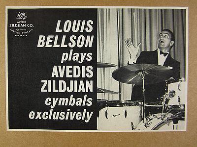 1966 Louis Bellson photo Avedis Zildjian Cymbals vintage print Ad