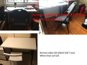 single bed frame, mattress, drawer, table, chair for sale