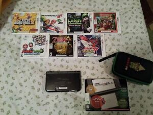 New Nintendo 3DS XL, Games, Charger, NES Zelda Carrying case wit