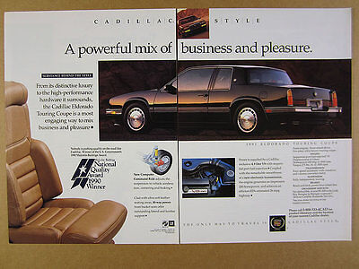 1991 Cadillac Eldorado Touring Coupe color photo vintage print Ad