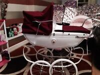 Stunning silver cross vintage dolls pram fully refurbished with eztras.