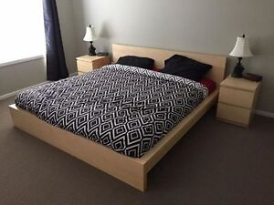 King Size Ikea Malm Platform Bed w 2 matching nightstands