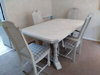 Beautiful shabby chic dining table and four chairs