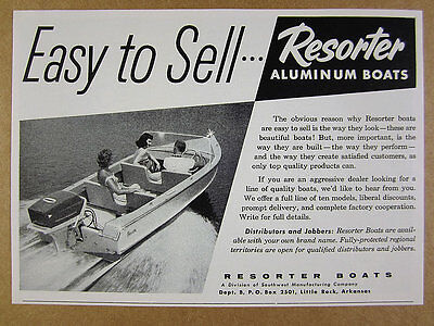 1958 Resorter Boats outboard motor boat photo vintage print Ad