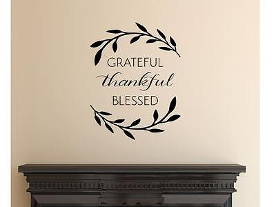 - GRATEFUL THANKFUL BLESSED  Wall Art Decal Quote Words Lettering Decor
