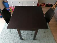 Ikea Table and 2 Chairs - Extendable table Black