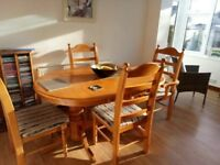 Extending dining table, 6 chairs and matching corner unit