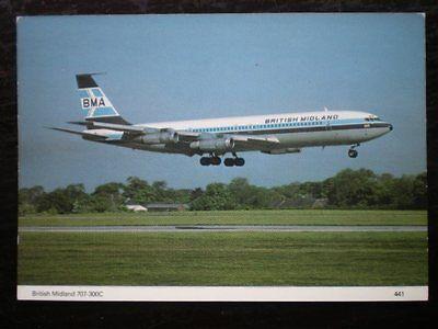 POSTCARD BOEING 707-300C FOR BRITISH MIDLANDS