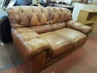 Light brown leather 2 seater sofa