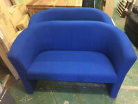 2 seater tub style fabric sofa (blue)