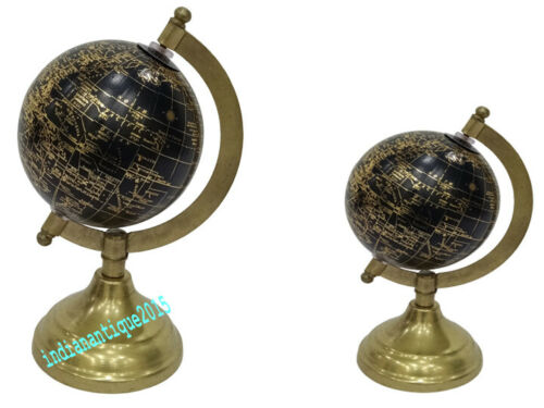 Nautical Globe Brass Round Desktop Home & Office  Table Decor Base Set of Two