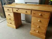 Large pine dressing table with 9 drawers