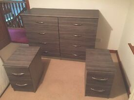 Handmade Chest of drawers and matching beside tables
