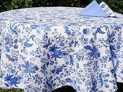 "LE CLUNY,  VERSAILLES Smutty FRENCH PROVENCE COATED COTTON TABLECLOTH, 70"" ROUND"