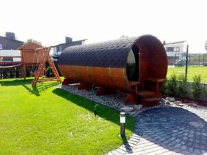 Barrel shape saunas and hot tubs
