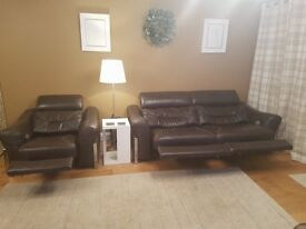 Brown Leather Electric Reclining Suite