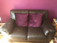 Brown Leather 2 Seater sofa, Few scuffs and scrapes but still plently of life in it!