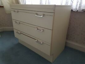 Retro Set Of Cream Two Bedside Tables With Draws And Chest Of draws.