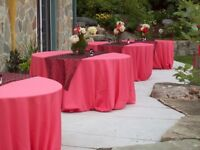 Coral cloth table covers/black bar top covers