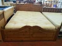 Pine kingsize bed frame with mattress and 4 drawers