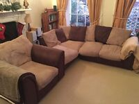 Brown faux leather corner sofa and matching armchair, great condition, will deliver, £240 ovno