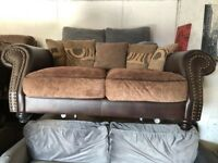 Brand New Chesterfield Leather & Fabric Sofa Nice Smart