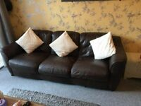 FREE TO COLLECTOR 2 & 3 seater brown leather sofas