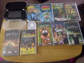Psp with games case and charger