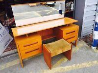 Stunning Danish Teak Dressing Table/ Desk & Stool