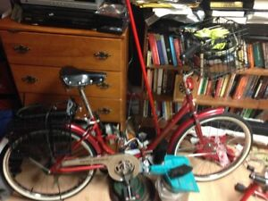 vintage british fixed folding bicycle, all tricked out