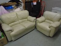 Cream Leather 2 Seater sofa and chair