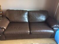 Genuine Leather, 2 Seater, Brown Sofa Bed.