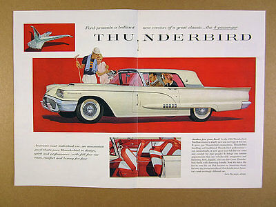 1958 Ford Thunderbird t-bird 'New' 4-Passenger color car art vintage print Ad