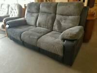 Black + grey cord + leather 3 seater recliner sofa