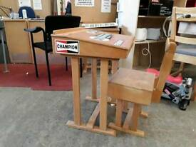 Childs school desk. Vintage