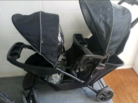 Graco double buggy with rain cover