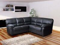 Black leather corner sofa new in wrapper