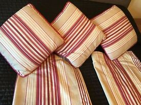 "LAURA ASHLEY Pencil Pleat Irving stripe curtains 72"" X 66"" + 3 Cushions"