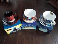 Superhero batman and superman large cup and saucer new in box