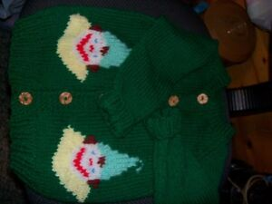 hand knit clown cardigan ... possibly fits 3 to 5 years old