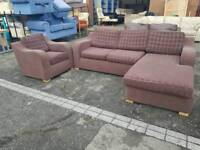 Brown modern fabric corner sofa and armchair suite good condition