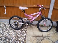 "girl bike 18"" wheels 6 gears front and rear suspension"