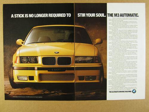 1995 BMW M3 Automatic yellow car color photo vintage print Ad