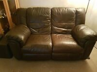 2 seater leather sofa and single reclining chair for sale