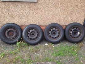 175/80 R14 BARUM x2 & GOODYEAR x 2 steel wheels with tyres