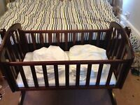 OBaby Mahogany Swinging Crib plus mattress/fitted sheets