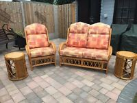 CANE FURNITURE SET excellent condition - 2 chairs, 1 sofa, 2 side tables