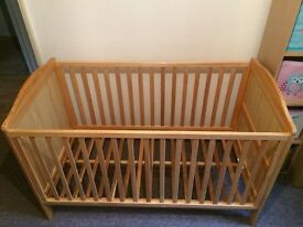 Shoreditch Cotbed in natural with East Coast Cot Top Changer and cot organiser