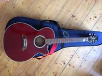Takamine EG560C Guitar - Electro / Acoustic guitar - Wine Red - With Foam Case and accessories